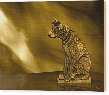 Nipper In Bronze Wood Print by John Pangia