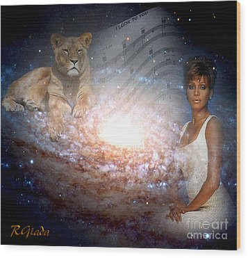 Wood Print featuring the digital art Nippy The Graceful Lioness - Tribute Art By Giada Rossi by Giada Rossi
