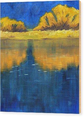 Nisqually Reflection Wood Print by Nancy Merkle