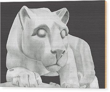 Nittany Lion Statue Wood Print