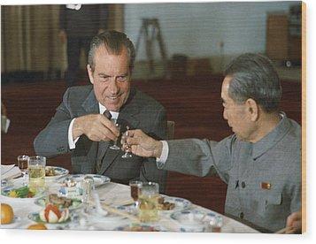 Nixon In China. President Richard Nixon Wood Print by Everett
