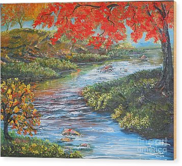 Nixon's Brilliant View Of Fall Alongside The Rapidan River Wood Print by Lee Nixon