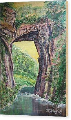 Nixon's Glorious View Of Natural Bridge Wood Print by Lee Nixon