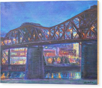 City At Night Downtown Evening Scene Original Contemporary Painting For Sale Wood Print by Quin Sweetman