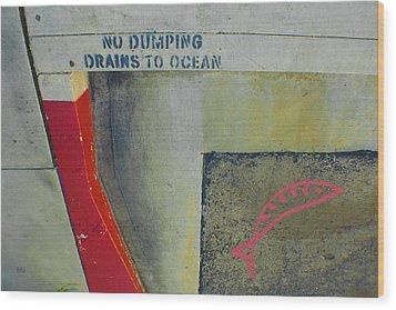 No Dumping - Drains To Ocean No 2 Wood Print by Ben and Raisa Gertsberg