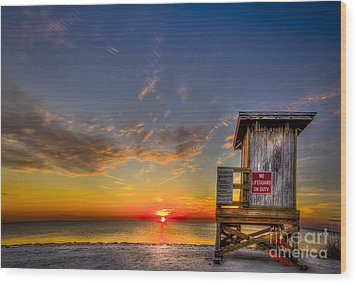 No Life Guard On Duty Wood Print by Marvin Spates