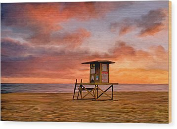 No Lifeguard On Duty At The Wedge Wood Print by Michael Pickett