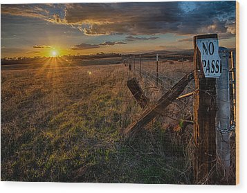 No Pass II Wood Print by Peter Tellone
