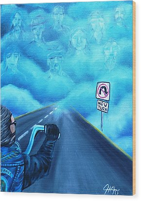 Wood Print featuring the painting No U Turn In Blue by The GYPSY And DEBBIE