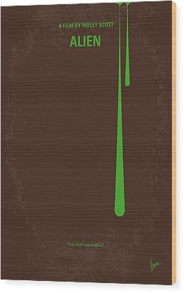 No004 My Alien Minimal Movie Poster Wood Print by Chungkong Art