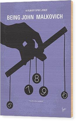 No009 My Being John Malkovich Minimal Movie Poster Wood Print by Chungkong Art