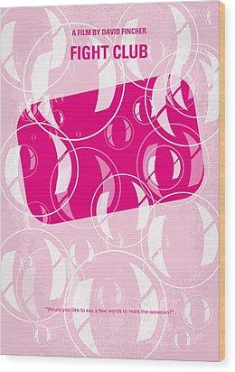 No027 My Fight Club Minimal Movie Poster Wood Print