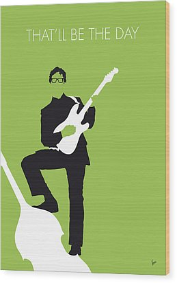 No056 My Buddy Holly Minimal Music Poster Wood Print