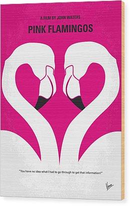 No142 My Pink Flamingos Minimal Movie Poster Wood Print by Chungkong Art