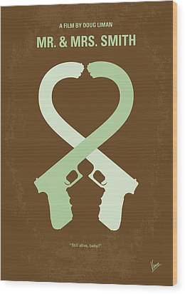No187 My Mr And Mrs. Smith Minimal Movie Poster Wood Print by Chungkong Art