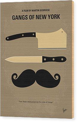 No195 My Gangs Of New York Minimal Movie Poster Wood Print