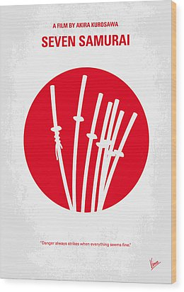No200 My The Seven Samurai Minimal Movie Poster Wood Print by Chungkong Art