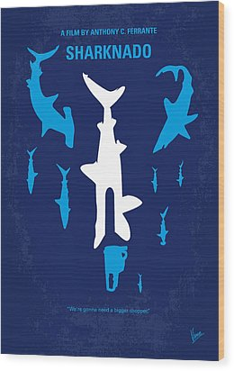 No216 My Sharknado Minimal Movie Poster Wood Print by Chungkong Art