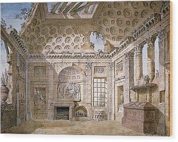 Monastery Of St Trinita Del Monte Wood Print by Charles Louis Clerisseau
