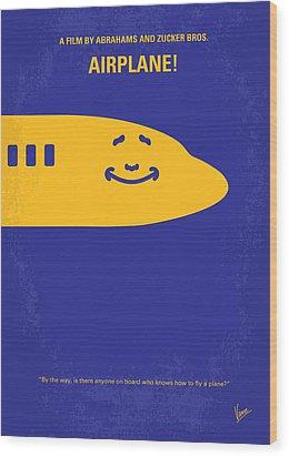 No392 My Airplane Minimal Movie Poster Wood Print by Chungkong Art