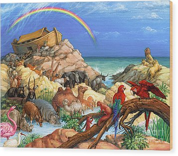 Noah And The Ark Wood Print