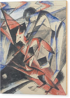 Noah And The Fox Wood Print by Franz Marc