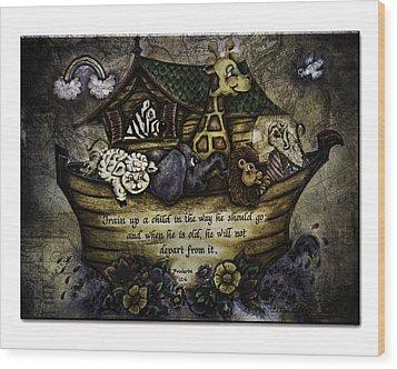 Noah's Ark Wood Print by La Rae  Roberts