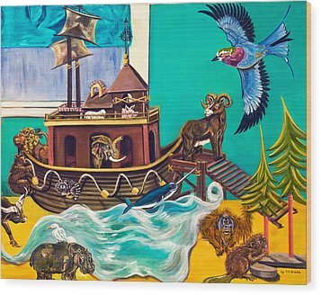 Noah's Ark Second Voyage Wood Print by Susan Culver
