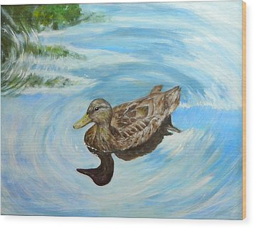 Wood Print featuring the painting Noah's Duck by Sandra Nardone