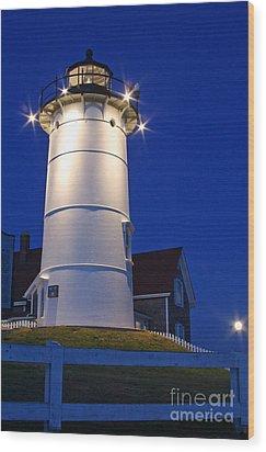 Nobska Light And The Beaver Moon Wood Print by Butch Lombardi