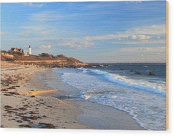 Nobska Lighthouse And Nobska Beach Cape Cod Wood Print by John Burk