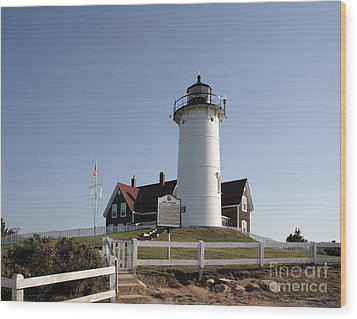 Nobska Lighthouse On Cape Cod At Woods Hole Massachusetts Wood Print