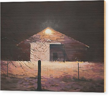 Nocturnal Barn Wood Print by Rebecca Matthews