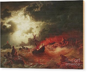 Nocturnal Marine With Burning Ship Wood Print by Pg Reproductions