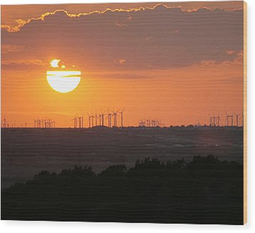 Nolan County Sunset Wood Print by Miriam Tiritilli