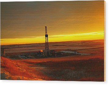 Nomac Drilling Keene North Dakota Wood Print by Jeff Swan