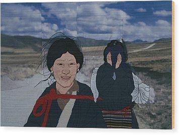 Nomad Girls Wood Print by Leslie Rinchen-Wongmo
