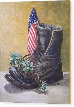 Wood Print featuring the painting Non-combat Boot by Laura Aceto