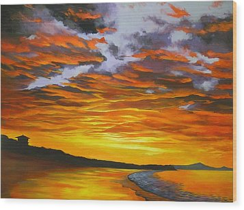 Wood Print featuring the painting Noosa Sunset by Chris Hobel