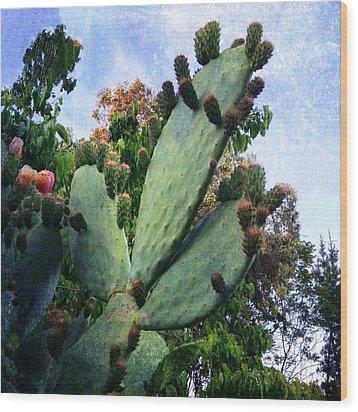 Nopales Cactus Wood Print