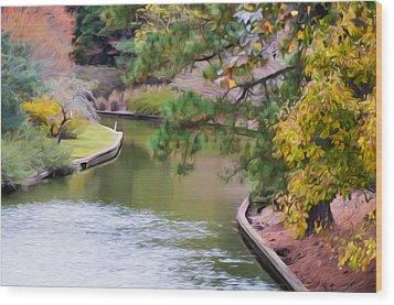 Norfolk Botanical Gardens Canal 7 Wood Print by Lanjee Chee