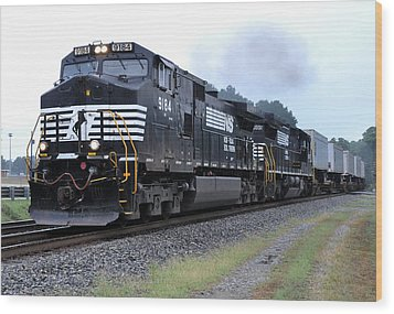 Norfolk Southern Pig Train Wood Print