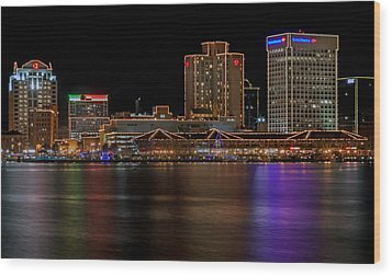 Norfolk Virginia Skyline Wood Print by Jerry Gammon