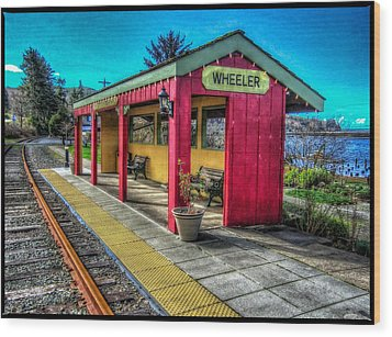 Wood Print featuring the photograph Norm Laknes Train Station by Thom Zehrfeld