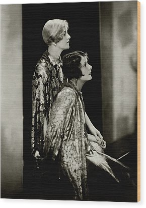 Norma And Constance Talmadge Wood Print by Edward Steichen