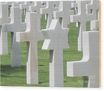 Normandy American Cemetery Wood Print by HEVi FineArt