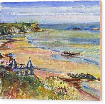 Normandy Beach Wood Print