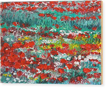 Normandy Poppy Field Dreams I Wood Print