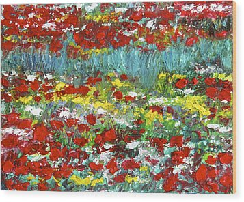 Normandy Poppy Field Dreams  II Wood Print