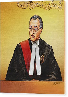 Nortel Verdict - Mr. Justice Marrocco Reads Non-guilty Ruling Wood Print by Alex Tavshunsky